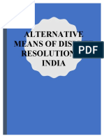 Alternative Means of Dispute Resolution in India