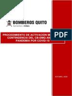Procedimiento de activación médica de contingencia del CB-DMQ ante la pandemia por COVID-19-