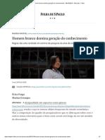 Homem branco domina geração do conhecimento - 09_10_2019 - Mercado - Folha