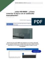 Barra de sonido HW-M450 - ¿Cómo conectar la barra con el subwoofer manualmente_ _ Samsung Soporte CO