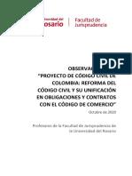 Comentarios de la Universidad del Rosario ll Proyecto de Código Civil - 27 Octubre de 2020