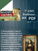 RENASCIMENTO CULTURAL - 7º ANO (Prof. Joca)