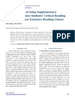 The Feasibility of using Supplementary Materials to Foster Students' Critical Reading Ability in Chinese Extensive Reading Classes