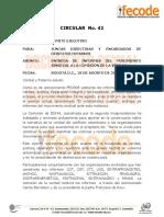 CIRCULAR  No. 42 Entrega informes Movimiento Sindical a CEV