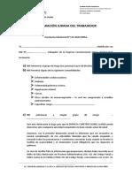 DECLARACIÓN JURADA DEL TRABAJADOR