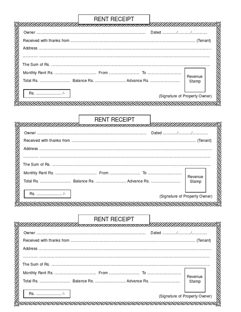 house rent receipt format doc