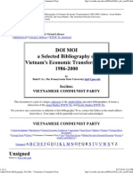 A Selected Bibliography of Vietnam's Economic Transformation 1986-2000