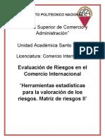 Herramientas estadísticas para la valoración de los riesgos. Matriz de riesgos II