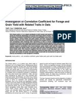 Investigation of Correlation Coefficient for Forage and Grain Yield with Related Traits in Oats