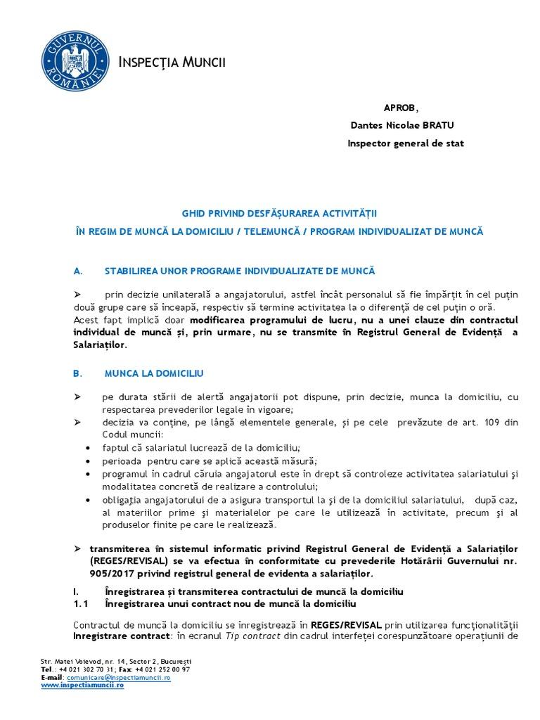 Ocupatiile din COR care pot fi prestate la domiciliu - obligatii la incheierea CIM