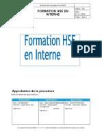 Procedure De Formation HSE En Interne