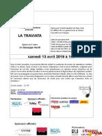 Plaquette Opéra LA TRAVIATA 13-04-2019