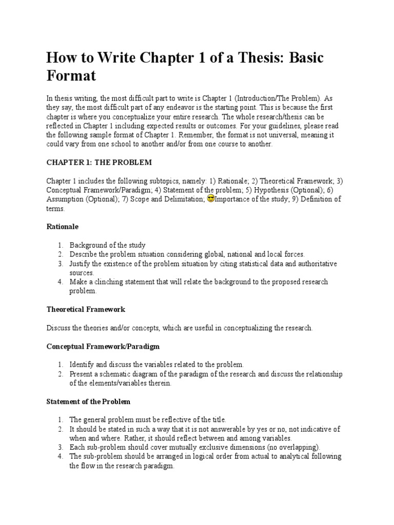 Thesis Format Chapter 1 - Thesis Title Ideas For College