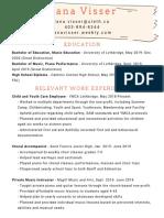 dana visser - teaching resume