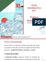 Ficha informativa nº 1 - Texto e textualidade (Aprendizagens essenciais)