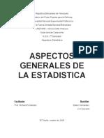Aspectos Generales de la Estadistica