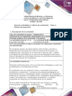 Guia de actividades y Rúbrica de evaluación - Unidad 2 - Paso 4 - Diseño de propuesta
