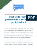 Quel Est Le Régime Juridique de La Société en Participation