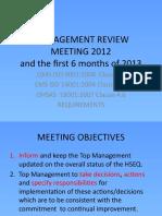 Managment Review Meeting 2012 Presentation rev. 3
