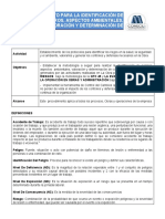 PROCEDIMIENTO IDENTIFICACION DE PELIGROS Y ASPECTOS
