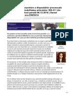Probleme de interpretare a dispozițiilor procesuale care vizează aplicabilitatea articolelor 309-311