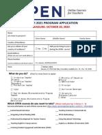 Winter 2021 OPEN Application