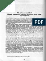 Jean Allouch - ¿Paranoización? Simple indicación sobre la dirección de la cura