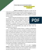 RESUMO POLÍTICAS PÚBLICAS DA EDUCAÇÃO BÁSICA