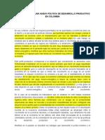 ELEMENTOS PARA UNA NUEVA POLÍTICA DE DESARROLLO PRODUCTIVO EN COLOMBIA