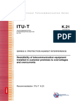 ITU - T - K.21 - 2019 - Resistibility of telecom equipment in customer to overvoltage and overcurrent