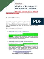 Actualidad sobre el  Servicio de la Tasación en Colombia