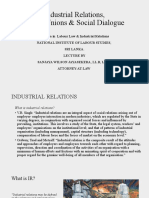 Industrial Relations, Trade Unions and Social Dialogue