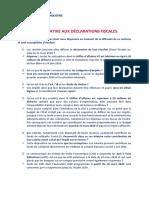Note Relative Aux Déclarations Fiscales
