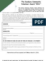 2011 Community Volunteer nomination form