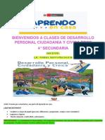solucion 24 semana CLASES DE DESARROLLO PERSONAL  CIUDADANIA Y CIVICA ,4° SEC-1