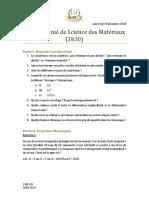 Examen science des materiaux