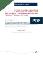 La Ligue Nationale de Rugby Annonce Le Report de La Rencontre en Retard Stade Montois Rugby Oyonnax Rugby Comptant Pour La 5ème Journée de PRO D2