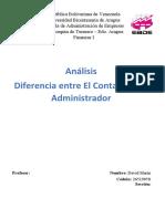 Análisis Diferencia entre el Contador y el Administrador Finanzas I