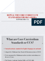 Why Core Curriculum (National) Standards Are Bad For Oklahoma
