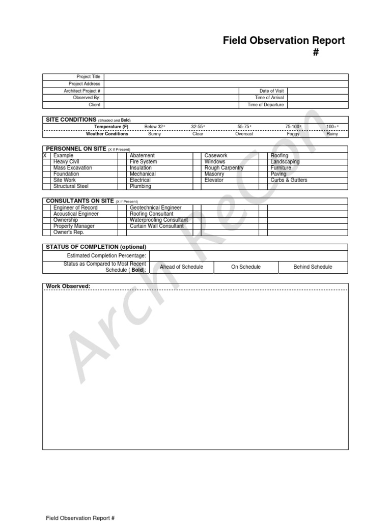 architect field report template