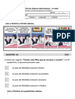 1º SIMULADO DE LÍNGUA PORTUGUESA- 5º ANO- 2019