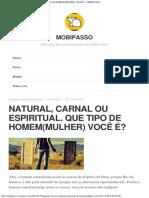 NATURAL, CARNAL OU ESPIRITUAL QUE TIPO DE HOMEM(MULHER) VOCÊ É – MOBIPASSO