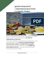Qué es la gestión financiera