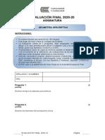 EXAMEN FINAL GEOMETRIA DESCRIPTIVA 2020-20