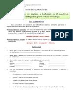 Guía de actividades 3° año Básico (sustantivos y adjetivos )
