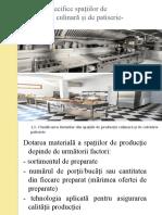 Dotări specifice spațiilor de producție culinară și de patiserie- cofetărie