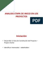 Analisis Etapa de Inicio en Los Proyectos
