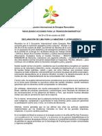 Declaración del II Encuentro Sobre Energías Renovables