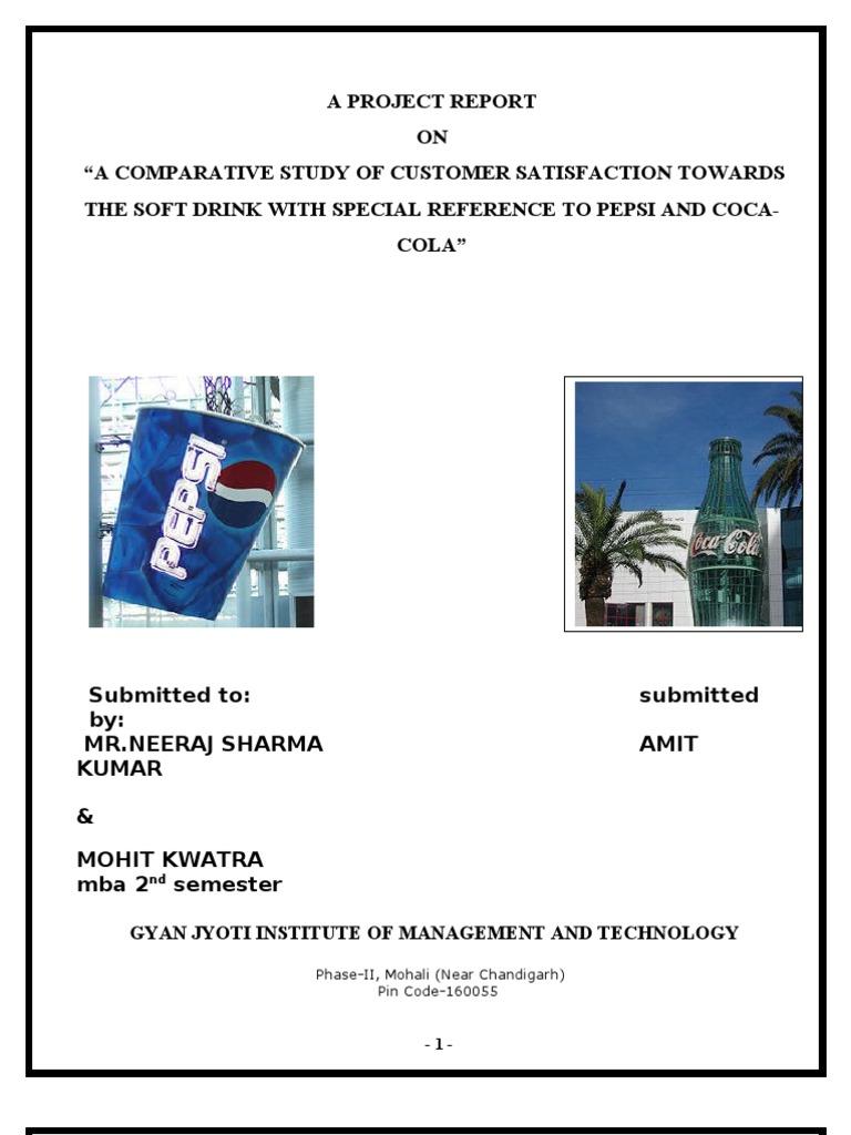 A PROJECT REPORT PEPSI VS COCA COLA | Coca Cola | Pepsi
