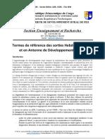 Termes de référence des sorties Hebdomadaires et en ADR ISDR - Fizi, Baraka